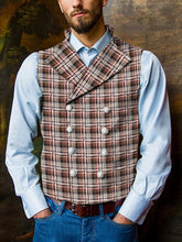 Load image into Gallery viewer, Men Double Breasted Plaid Herringbone Waistcoat