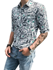 Men Printed Lapel Blouse Shirt