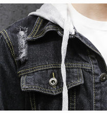 Load image into Gallery viewer, Men Denim Hoodie Jacket