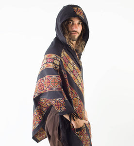 Men Tasseled Hooded Poncho Striped Cloak