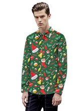 Load image into Gallery viewer, Men's Christmas Printed Long Sleeve Blouse Shirt