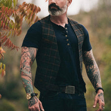 Load image into Gallery viewer, Men Plaid Single Breasted Casual Waistcoat