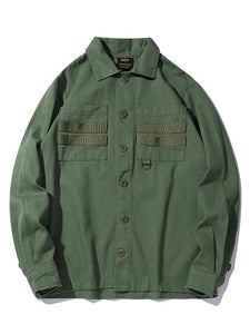 Casual Solid Military Style Men's Shirt