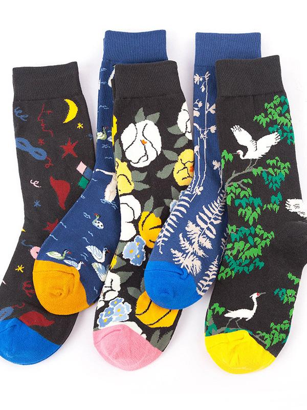 5Pairs Casual Art Breathable Cotton Socks(For US Size7-9.5)