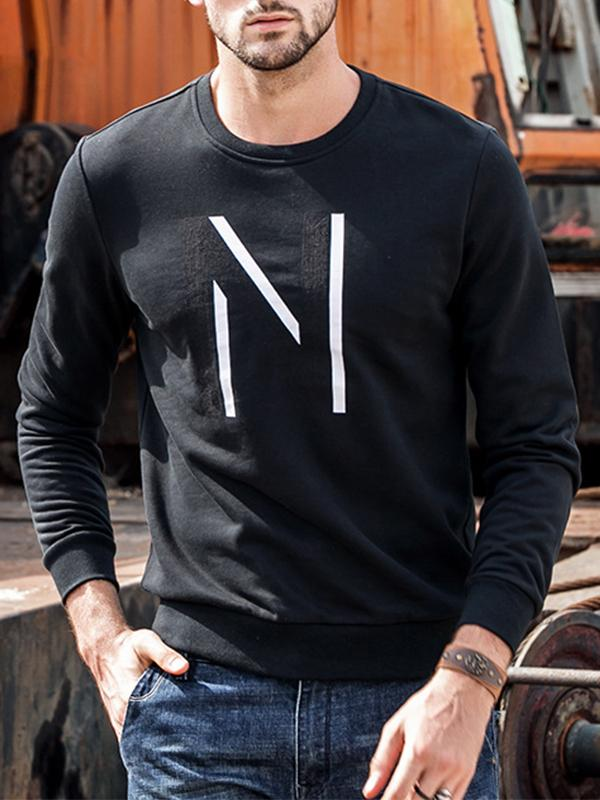 Men Round Neck Printed Sweatshirt