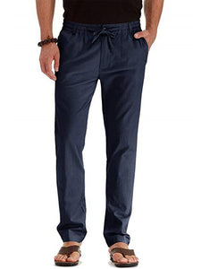 Mens Straight Leg Solid Casual Pants
