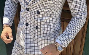 Men Plaid Double Breasted Casual Blazer