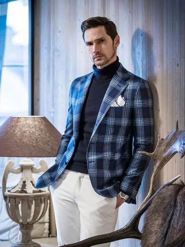 Men Casual Plaid Blazer