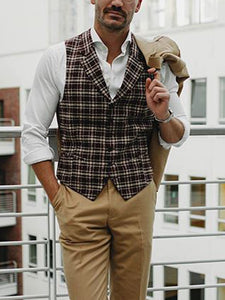 Men Plaid Single Breasted Casual Waistcoat