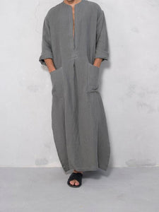 Men V-Neck Casual Solid Robe