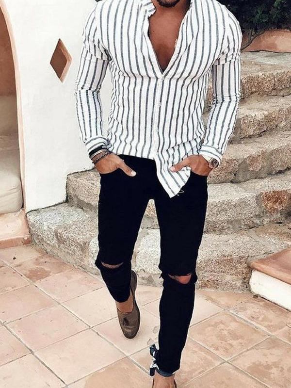 Men Stand Collar Striped Long Sleeves Shirt