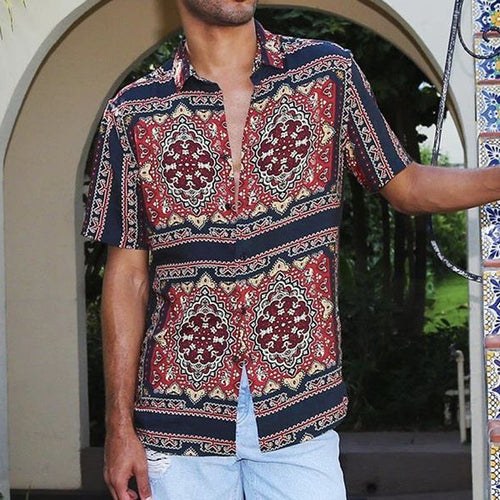 Men Casual  Lapel Collar Printed Shirts