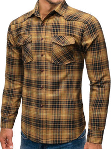 Men Grid Printing Business Shirt