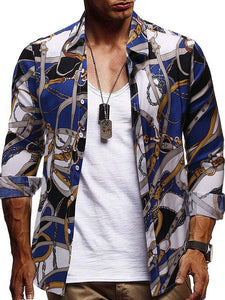 Men's Printed Long Sleeve Blouse Shirts