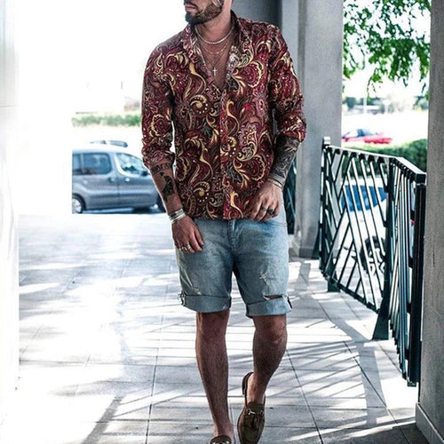 Men Bohemia Vacation Blouses