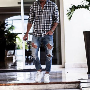 Men Black&White Plaid Shirt