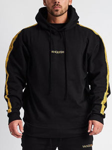 Men Stripe Warm Hoodie Sweatshirt
