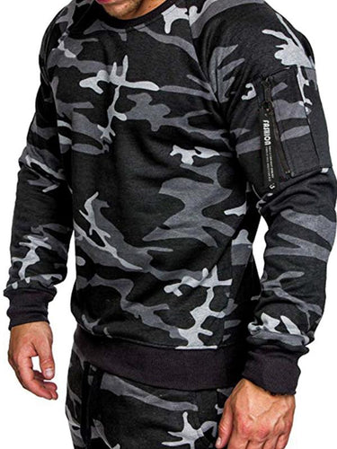Men Camouflage Zipper Casual Sweatshirt