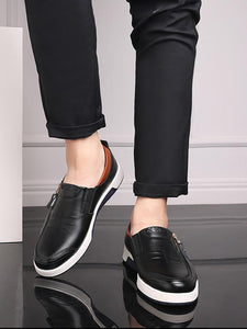 Solid Zipper Casual Flat Loafers Shoes