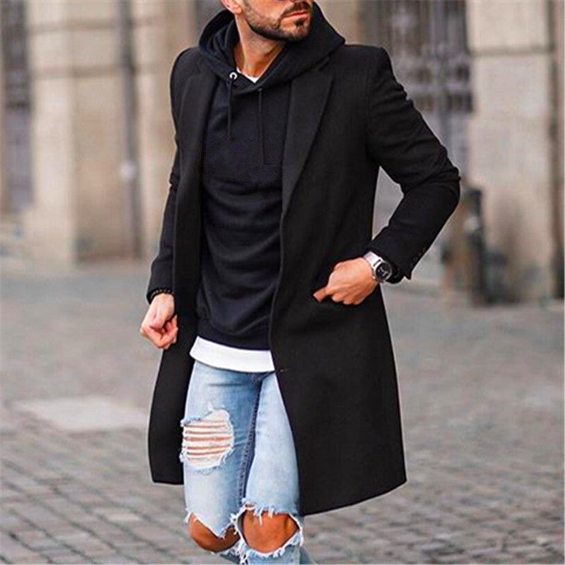 Men Revere Collar Solid Coat