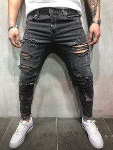 Men Scratch Tapered Jeans