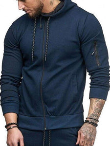 Men Cotton Hoodie Zip Up Sweatshirt