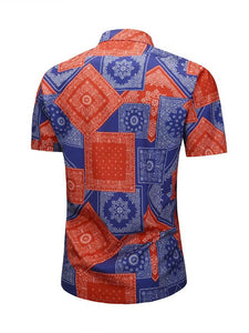 Men Lapel Short Sleeves Printed Shirt