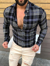 Load image into Gallery viewer, Mens Lapel Plaid Long Sleeves Blouses&shirts Top