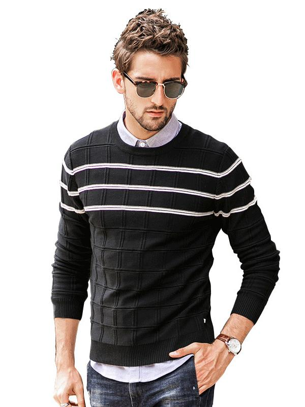 Men Casual Striped Sweater Tops
