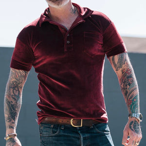 Men Lapel Red T-Shirt