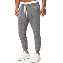 Load image into Gallery viewer, Men Casual Plaid Tapered Pants