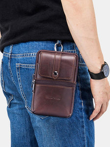 Solid Zipper Leather Multi-layer Waist Pocket