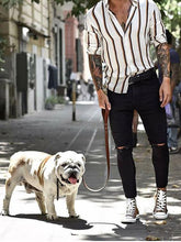 Load image into Gallery viewer, Men Lapel Collar Striped Long Sleeves Shirt