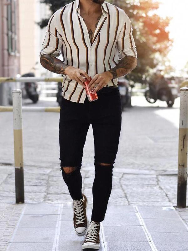 Men Lapel Collar Striped Long Sleeves Shirt