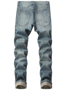 Men Casual Classic Distressed Ripped Destroyed Column Jeans