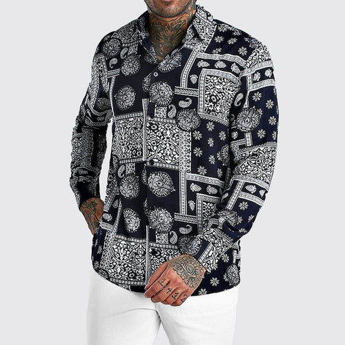 Men Fashion Print Long Sleeves Lapel Shirt