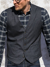 Load image into Gallery viewer, Men V-Neck Collar Solid Waistcoat