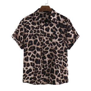 Men Leopard Print Half Sleeves Shirt