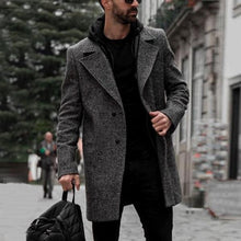 Load image into Gallery viewer, Men Lapel Solid Color Long Sleeve Coat