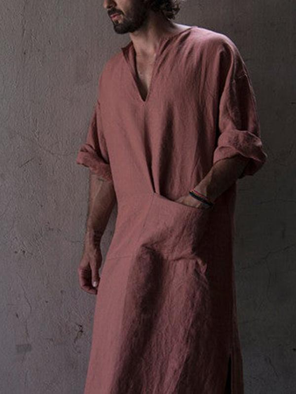 Men Loose Solid Robe