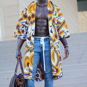 Men Flower Print Loose Cover-Up