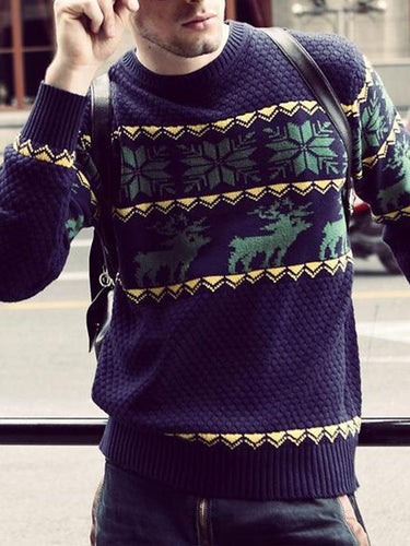Men Classic Pattern Knitted Sweatshirt