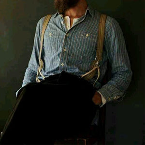 Men Stand-Collar Striped Shirt