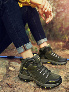 Men Casual Lace-up High-top Outdoor Hiking Athletic Shoes
