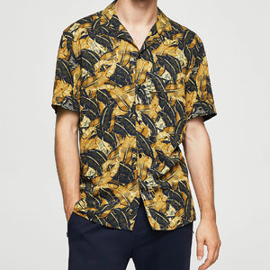 Men Lapel Tropical Style Short Shirt