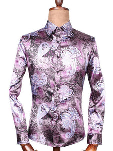 Men Lapel Floral Print Shirt