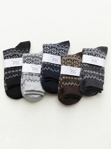 5Pairs Folk-Custom Style Breathable Cotton Retro Socks