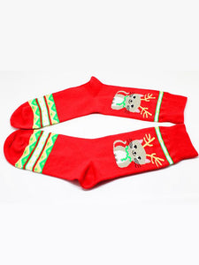 3Pairs Christmas Breathable Cotton Socks(For US Size9-11)