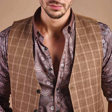 Load image into Gallery viewer, Men Traditional Plaid Herringbone Waistcoat