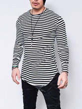 Load image into Gallery viewer, Men Long Sleeve Stripe Tee